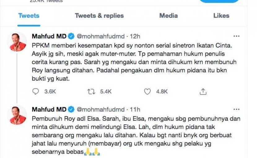 Mahfud MD Kritik Sinetron Ikatan Cinta 3